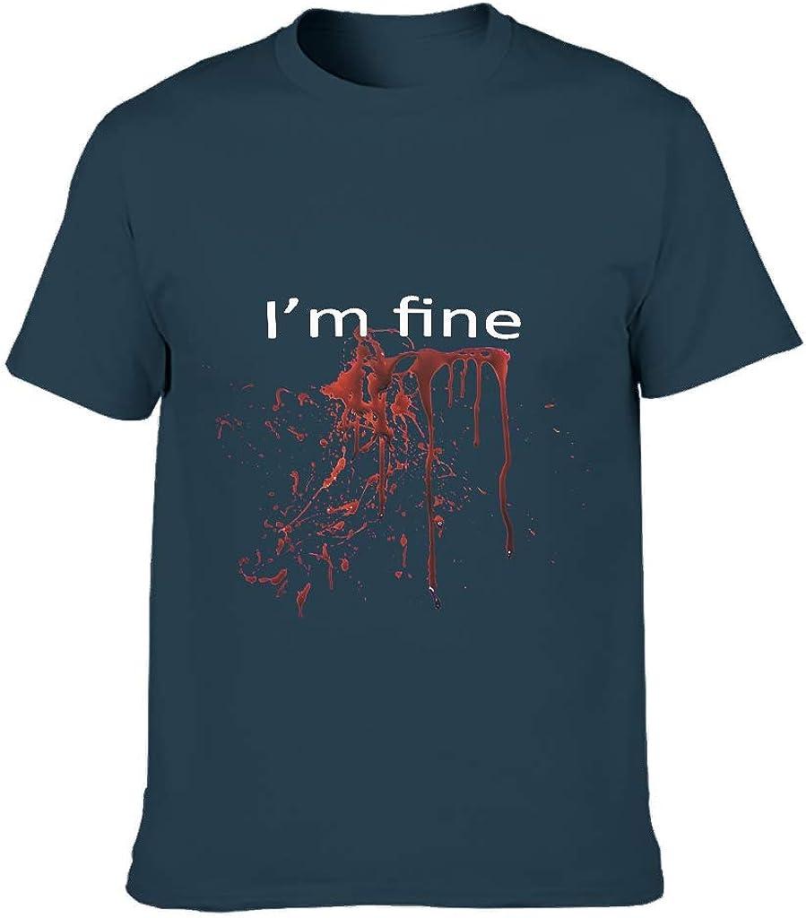 Camiseta para hombre Funny I am Fine de algodón desgastado – sangriento Halloween divertido