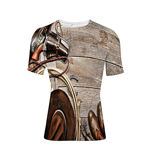 Devil Rays Wood - T-Shirt Short Sleeves,Ranching Gear on Weathered Wood Planks Revolver,Mens Cool 3D Print