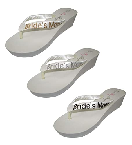 e0dccdb44b8c96 Image Unavailable. Image not available for. Color  Customizable Ivory 2  inch Wedge Wedding Flip Flops