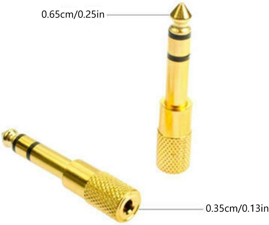 Fangfeen 2pcs 6.5mm /à 3.5mm m/âle vers Femelle Jack Adaptateur Casque st/ér/éo Adaptateur Audio Microphone Convertisseur