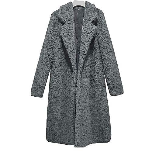 Bibowa Women's Faux Shearling Jacket White Fuzzy Petite Long Open Front Cardigan Jacket Coat Outwear Overcoat GRA M -