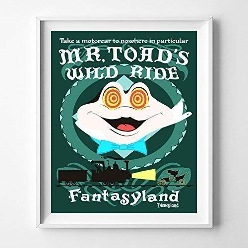 Disneyland Mr.Toad's Wild Ride Fantasyland Wall Art Poster Home Decor Print Vintage Artwork Reproduction - Unframed