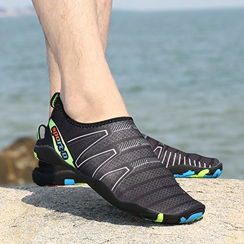 Woky Wet Water Shoes Slip On Swimming Beach Aqua Shoes Quick Drying Pool Sea Surf Sock Men Women Black sCCotHm