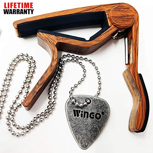 WINGO Quick Change Wooden Guitar Capo for Acoustic Guitar, Electric Guitar,Bass,Ukulele- Rosewood with Personalized Metal Pick Necklace. ()