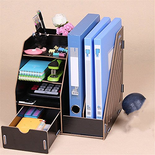- Desktop A4 File Basket Data Storage Rack Wooden File Rack with Drawer/Pen Holder Organizer Office Organizer, 27.5×26×30cm,Black