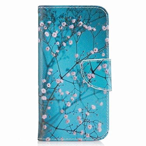 Yiizy Samsung Galaxy A5 (2017) Funda, Plum Flower Diseño Solapa Flip Billetera Carcasa Tapa Estuches Premium PU Cuero Cover Cáscara Bumper Protector Slim Piel Shell Case Stand Ranura para Tarjetas Est