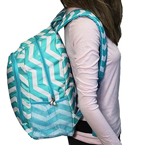 World Traveler Multipurpose Backpack 16-Inch, Blue White Chevron, One Size by World Traveler (Image #2)