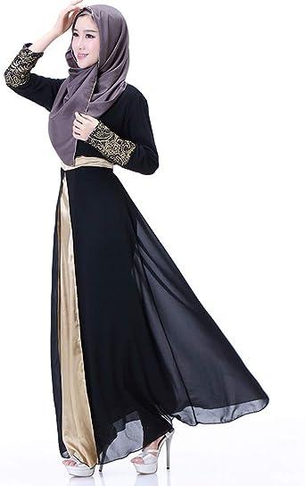CAOQAO damska długa sukienka maxi sukienka ramadanowa modlitewna sukienka temperament wąska, sukienka patchworkowa Islam Abaya odzież muzułmańska: Odzież
