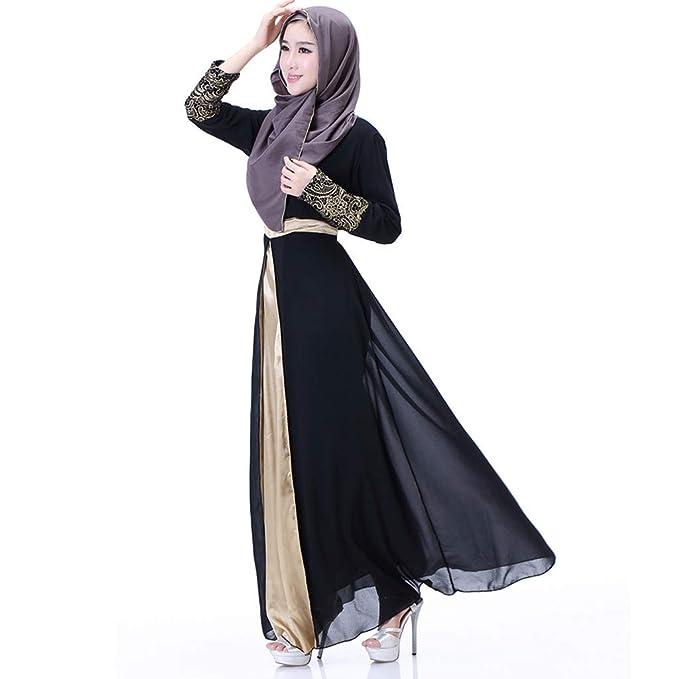 04bb1030 PRINCER Muslim Islamic Clothing Chiffon Color Block Maxi Long Sleeve Dress  Arab Egyptian Kaftan Caftan Dress Abaya Muslim Robes Gown: Amazon.co.uk:  Clothing
