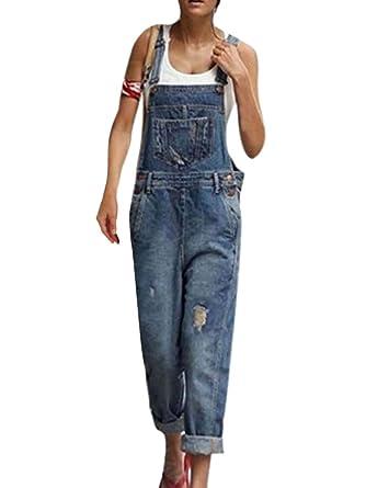 buy popular bf43a 08f72 OranDesigne Salopette Donna Jeans retrò con Risvolto in Denim Lunga  Regolabile Cinturino Senza Maniche Tute Casual Sciolto Largo Salopette con  Tasche