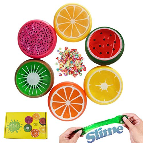BSTYU Fruit Slime Kit Fluffy Slime Magic Crystal Clay Putty Toy for for Kids Adults, 6 Pack with Fruit Slice