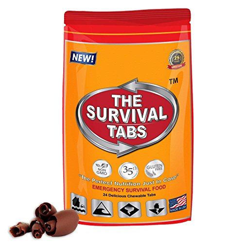 sert racing Survival Tabs 2-day Food Supply 24 Tabs Emergency Food Ration Survival Gluten Free and Non-GMO 25 Years Shelf Life Long Term Food Storage - Chocolate Flavor (Racing Tab Kit)