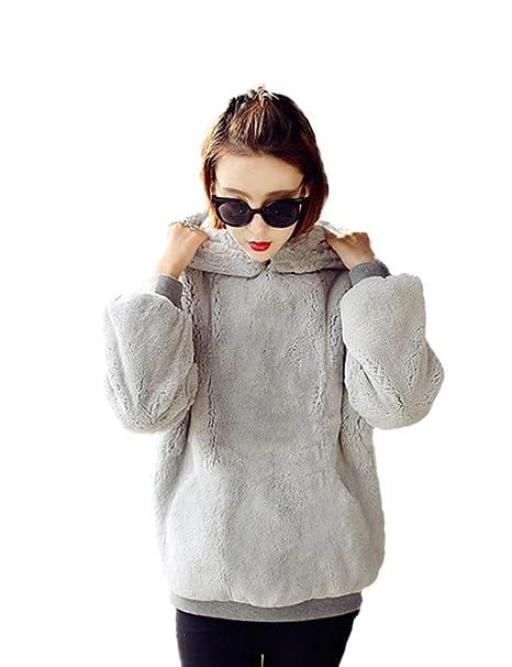 HX fashion Hoodys Mujer Piel Sintética Invierno Abrigos Unicolor Bolsillos Delanteros Caliente Manga Larga Basic Chaqueta Cómodo Hipster Sudaderas con ...