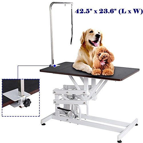 42.5'' Large Pet Dog Hydraulic Grooming Table Adjustable Arm & Noose Rubber Mat TKT-11 Glass 500 Snare