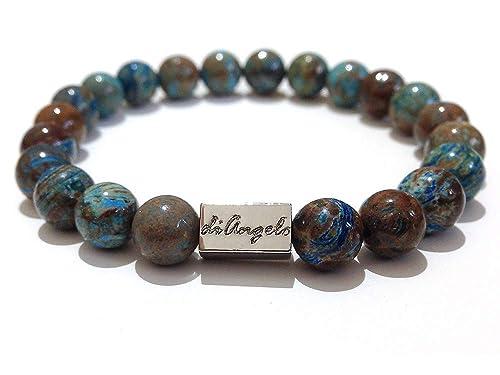 837ef0af983586 di Angelo Blue Ocean Jasper bracciale pietre naturali. Braccialetto Uomo  Donna Pietra naturale Occhio di