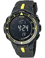 Casio Mens PRG-300-1A9CR Pro Trek Triple Sensor Tough Solar Digital Display Quartz Black Watch