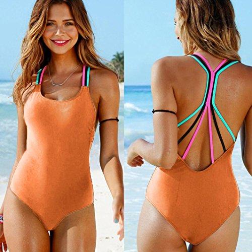 Backless Bikini Up da donna Arancione da Elecenty Beachwear imbottito Push bagno Costumi One bagno Piece Bikini OxxqdwzU