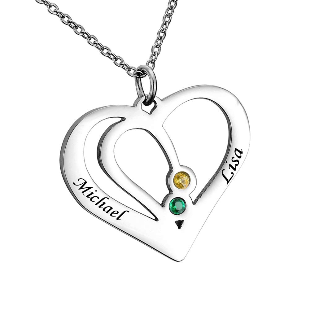 c36fa528df Amazon.com: HooAMI Personalized Love Heart Couples Birthstone Necklace -  Custom Made with Any Name: Jewelry