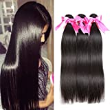 Jaja hair 8A Peruvian Virgin Hair Straight Hair 3/4 Bundles Deal 100% Unprocessed Silky Straight Human Hair Weave Weft Extensions Natural Color Can be Dyed