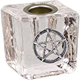 Mini Candle Holder Pentacle - Clear - For 1/2''d x 4''h Candles