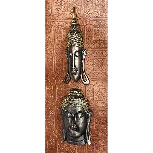 Design Toscano Sukhothai and Bodh Gaya Buddhas Asian Wall Sculptures, Bronze, Set of 2