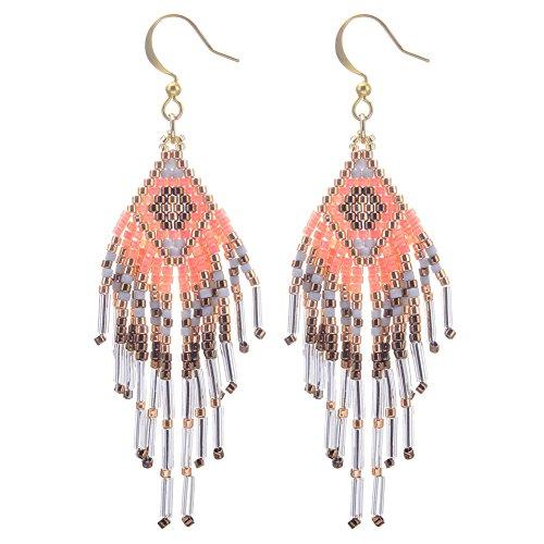 BeadChica Handmade Tribal Geometric Style Beaded Dangle Earring, Gift for Her, Beadwork Jewelry (Color 3)