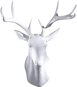 GAOBEI Wall Charmers 20 inch Large White Faux Deer Head Faux Taxidermy Animal Head Wall Decor - Handmade Farmhouse Decor - Rustic Wall Decor Deer Antlers (White Deer)