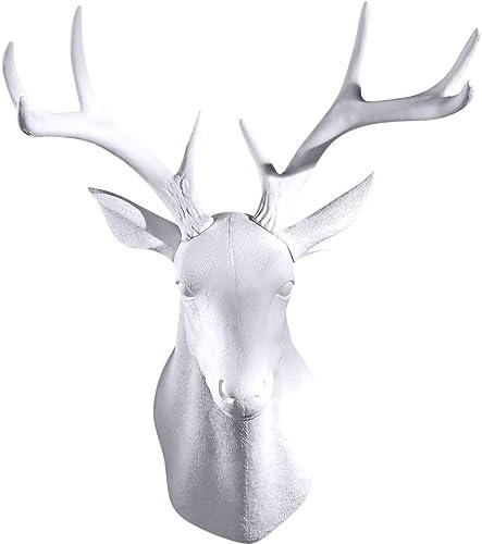 GAOBEI Wall Charmers Large White Faux Deer Head Faux Taxidermy Animal Head Wall Decor