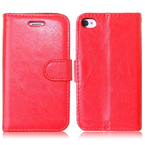 iPhone 4G / 4S Hülle, Apple iPhone 4G / 4S Hülle Lifetrut®[ rote ] Schutzhülle Flip PU Ledertasche Ständer Schutzhülle Tasche Hülle Case Cover mit Kreditkartensteckplätze für Apple iPhone 4G / 4S