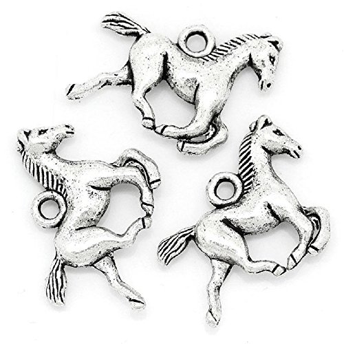 Horse Charm Pendants 95 Pack, Silver Tone, Equestrian Jewelry Making DIY, 5/8 Inch
