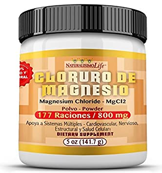 Cloruro de Magnesio Magnesium Chloride 5oz (141.7g) 800mg measuring scoop inside 177 servings