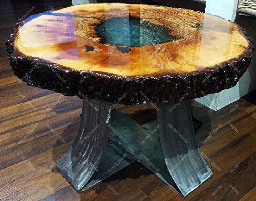 Oliveo Holz - Mesa de café de Madera Natural con Resina epoxi y ...