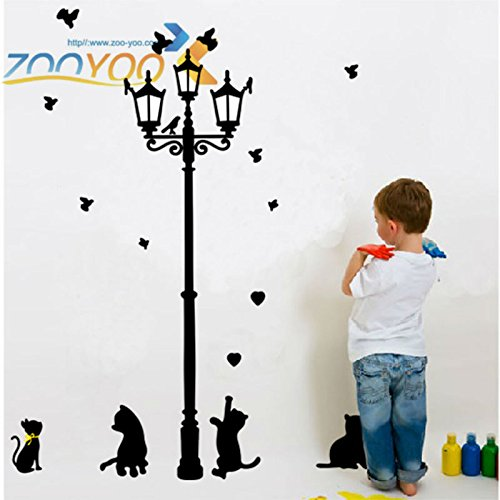 - FairyTeller Lovely Cats Playing With Butterfly Around Lamppost Wall Decal Zooyoo030L Removable Pvc Wall Sticker Home Decorations Mural Art