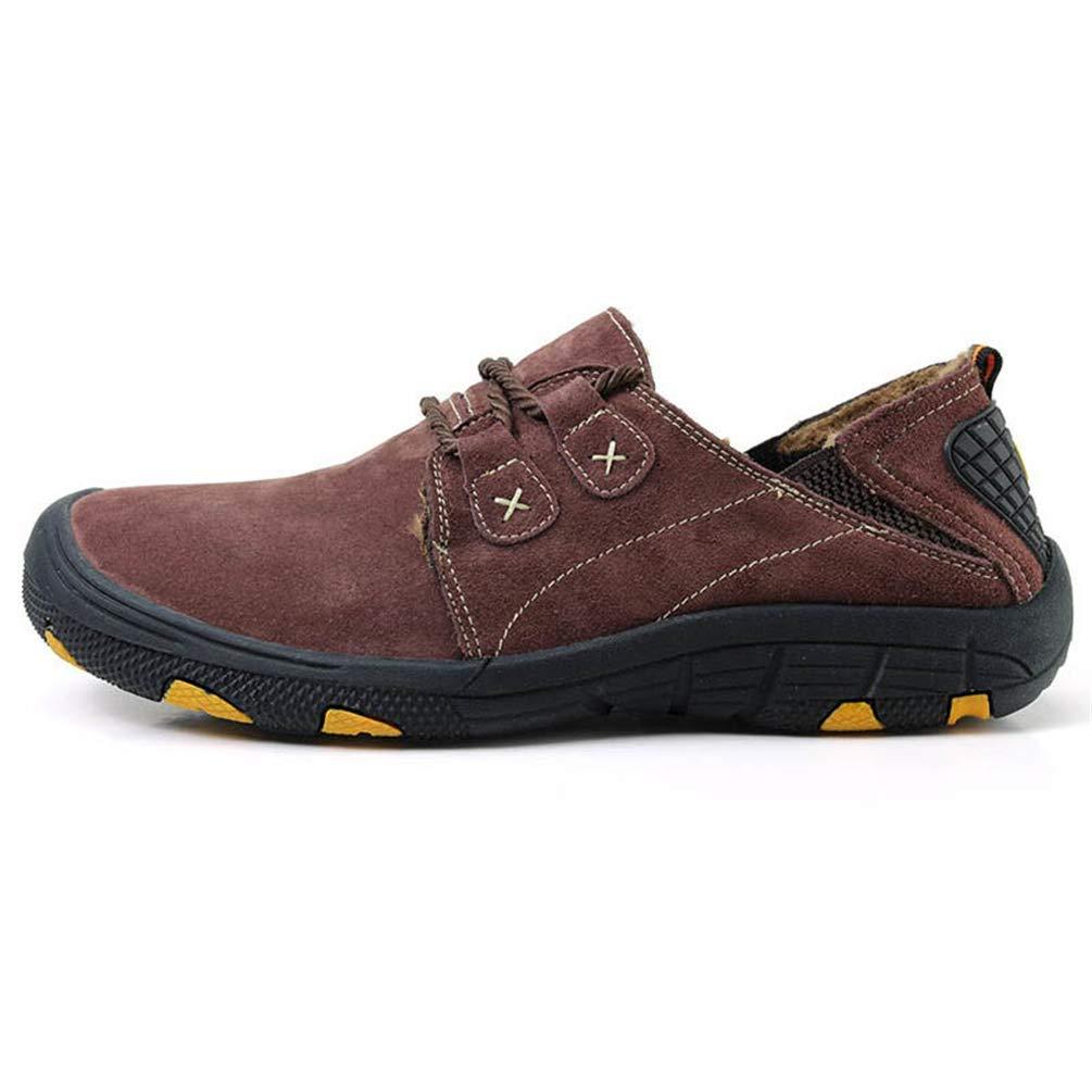 Männer Echtes Leder Schuhe Herbst Winter Warme Pelz Schuhe Turnschuhe Lässige Mode Wanderschuhe (Farbe   Fur Coffee, Größe   9=43 EU)