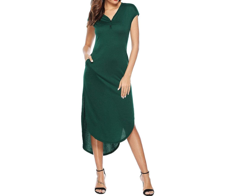 Green Glittering time Summer Dress Women Casual Elegant Vintage VNeckline Solid Boho Dress Flounce Short Sleeve Pocket Dress