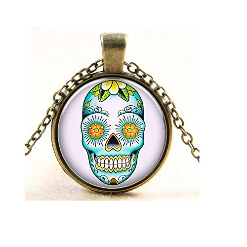 [Darkey Wang Fashion Jewelry Unisex Candy Color Tattoo Skull Time Gemstone Necklace(Gold)] (B Themed Costume Ideas)