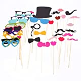 ANDI ROSE 36PCS Photo Booth Props Accessories Glass Cap Moustache Lips With Stick For Wedding Birthday Party
