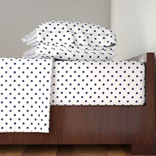 Roostery Polka Dots 4pc Sheet Set Blue and White Preppy Navy Cottage Farmhouse Shabby Chic by Lilyoake 100% Cotton Sateen King Sheet Set