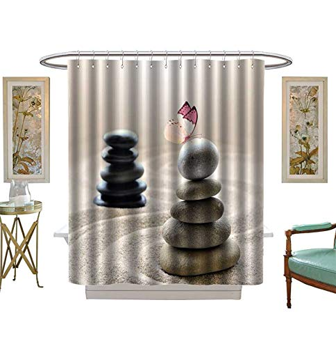 Stone Asha 3 - Shower Curtains 3D Digital Printing Butterfly and Stones Balance Bathroom Set with Hooks Size:W84 x L72 inch