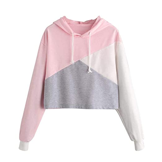 def44e58cb383c Womens Girls Cute Long Sleeve Patchwork Hoodie Drawstring Crop Sweatshirt  Top Pullover Blouse at Amazon Women's Clothing store: