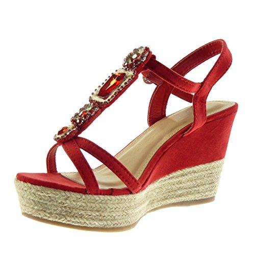 Angkorly - Zapatillas de Moda Sandalias alpargatas correa zapatillas de plataforma mujer joyas tanga cuerda Talón Plataforma 9.5 CM - Rojo