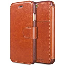 iPhone 6 Wallet Case, TAKEN PU Vintage Flip Cover with Magnet Belt Clip, Leather Shell with Credit Cards Slot, Card Holder, Durable Shockproof Cases for Apple i Phone 6s 4.7 Inch (2017), Dark Brown