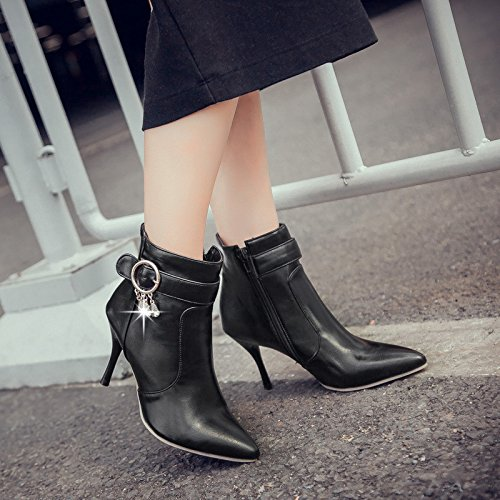 ZQ zipper drill QXTip short stylish the week and for side of thin Black boots water bare belt buckle boots raOwxnqa
