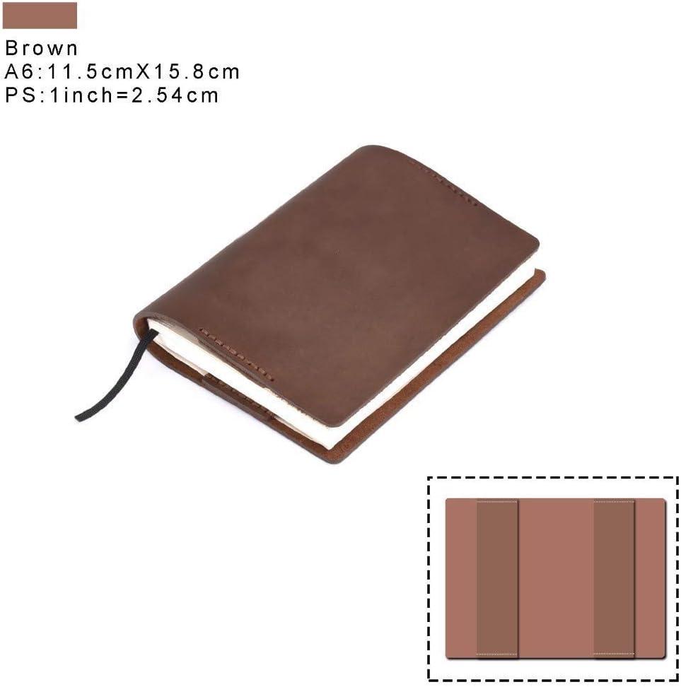 Cuero auténtico cuaderno de la vendimia Diario cubierta A5 A6 Tamaño hecho a mano Diario protector de la cubierta de cuero de vaca Sketchbook Planner dljyy