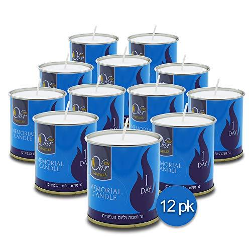 Ohr-1-Day-Yahrzeit-Candle-12-Pack-24-Hour-Kosher-Yahrtzeit-Memorial-and-Yom-Kippur-Candle-in-Tin-Cup-Holder