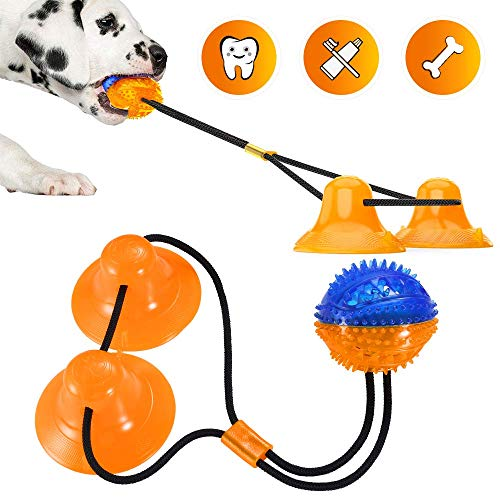 bobosogo Dog Rope Chew Toys Suction Cup Interactive Tug of War for Small Medium Dogs