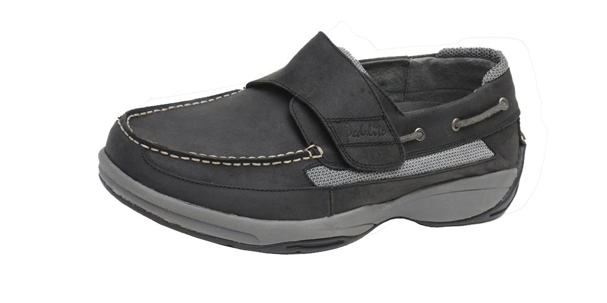 Ped-Lite Men's Neuropathy Boat Shoe - Oliver 10 XW|Black