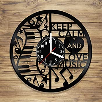 DecorArt Studio I Love Music Vinyl Record Wall Clock Musical Instrument Note Guitar Music Life Gift Handmade Art Home Unique Gift idea Him Her (12 inches)