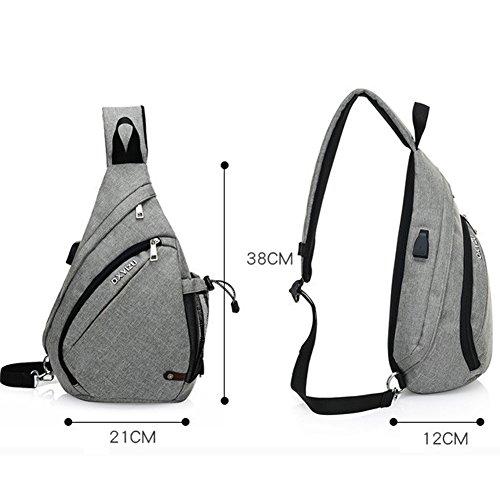 Uniqstore Lienzo unisex hombro bandolera pecho bolsa sling bolsa mochila con puerto USB de carga para camping senderismo viajes Morado