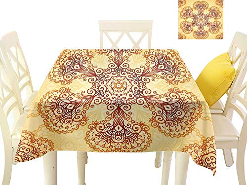"Angoueleven Ethnic,Wholesale tablecloths Ornate Vintage Circular Motif in Mehndi Style Henna Tattoo Mandala Inspired,Modern Dining Table Cover W 54"" x L 54"""